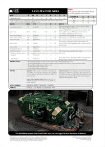 Click to download the Land Raider Ares Datasheet PDF with white background
